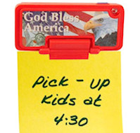 God Bless America Magnet Note Holder With Flashing Light