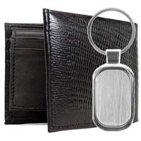 Leather Lizard Print Wallet & Keychain Gift Sets