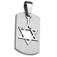Star of David Dog Tag Necklace Stainless Steel