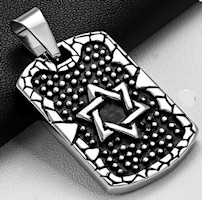 Star of David Dog Tag Necklace Two-Toned Stainless Steel Star of David Dog Tag Necklace