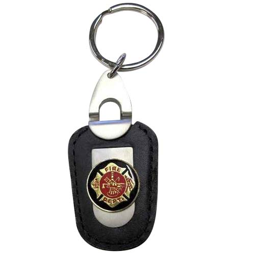 Firefighter Deluxe Leather Keychain
