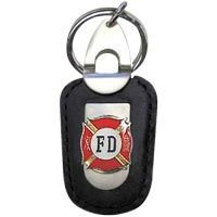 Fire Department Firefighter Deluxe Leather Keychain