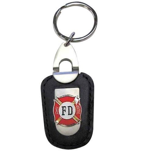 Fire Department Firefighter Deluxe Leather Keychain 353aaf488c7e