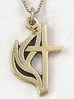 14Kt Gold United Methodist Cross and Flame Necklace