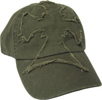 Frayed Cross Cap, Green or Black