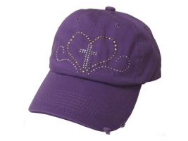 Purple Studded Heart and Cross Baseball Cap