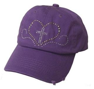 Purple Studded Heart and Cross Baseball Cap