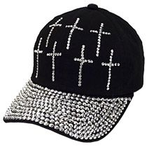 Cross Bling Studs Black Cap, Many Crosses