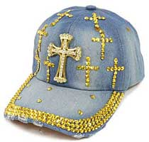 Gold Crosses Bling Denim Cap