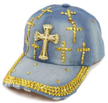 Gold Crosses Bling Denim Cap
