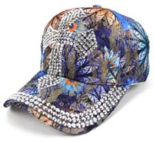 Cross Bling Studs Blue Flower Baseball Cap