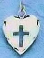Sterling Silver Heart Cross Necklace
