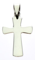 Sterling Silver Cross & White Cubic Zirconium Pendant Necklace