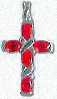 Sterling Silver Cross Necklace Red CZ Stones