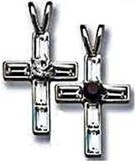 Swarovski Birthstone Cross Necklace Silver
