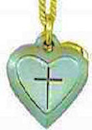 Sterling Heart with Cross Necklace gold