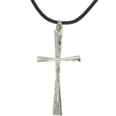 Silver Twist Cross Pendant Necklace