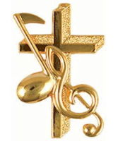 Cross, Staff and Music Note Pin Gold