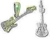 Sterling Silver Guitar Charm Pendant