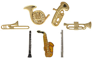 Musical Instrument Pins Trumpet, Horns, Trombone