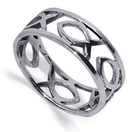Sterling Fish Band ring  Christian jewelry
