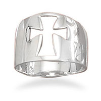 Sterling Silver Wide Flared Cross Ring