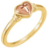 10K Yellow and Rose Gold Heart & Cross Ring
