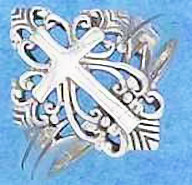 Sterling Silver Elaborate Filigree Cross Ring - Size 8