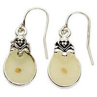Round Silver Mustard Seed Earrings