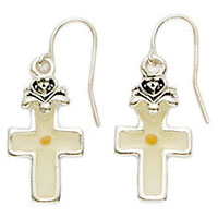 jewelry Pewter Cross Mustard Seed Earrings