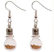 Clear Round Mustard Seed Earrings Silver