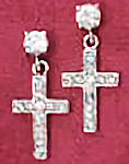 Sterling CZ Cross Earrings