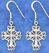 Filigree Cross Earrings Sterling Silver