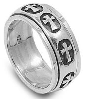 Sterling Spinner Cross Ring