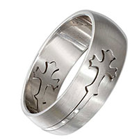 Mens  Stainless Steel Cross Ring Sz 13