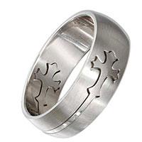 Mens  Stainless Steel Cross Ring Sz 13