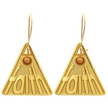 Faith Mustard Seed Triangle Earrings Gold