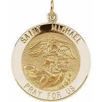 14K St. Michael Gold Pendant Catholic