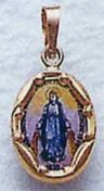 Blued Miraculous Medal 14k Gold