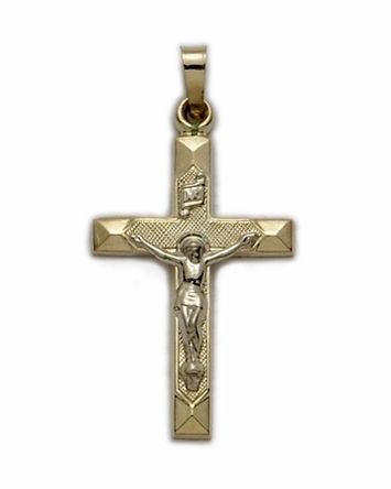 Crucifix 14kt Gold Necklace Beveled Edge