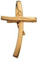 jewelry        2629.jpg  Curved Slide Cross 14K Gold Pendant