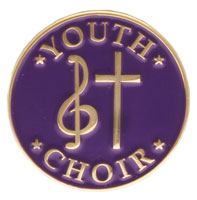 Youth Choir Pin with Cross Gold