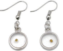 Round Mustard Seed Earrings Silver