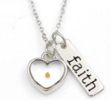 Silver Heart Mustard Seed Necklace with Plaque