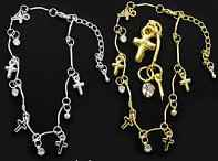 2 Silver & Gold Cross And Rhinestone Anklet