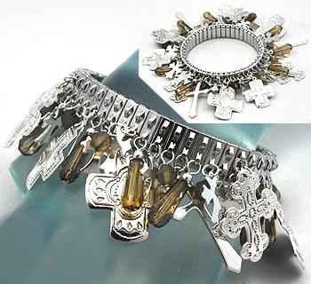 Multi Cross Charms Watchband Bracelet