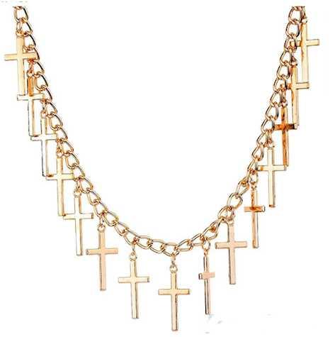 Woman's Gold Crosses Necklaces, 14 Crosses