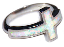 White Fire Opal Ring 925 Sterling Sliver Woman's