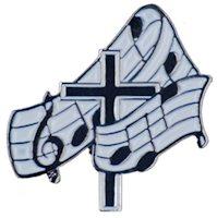 Music and Cross Lapel Pin