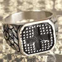 Mens Stainless Steel Cross Enamel Ring